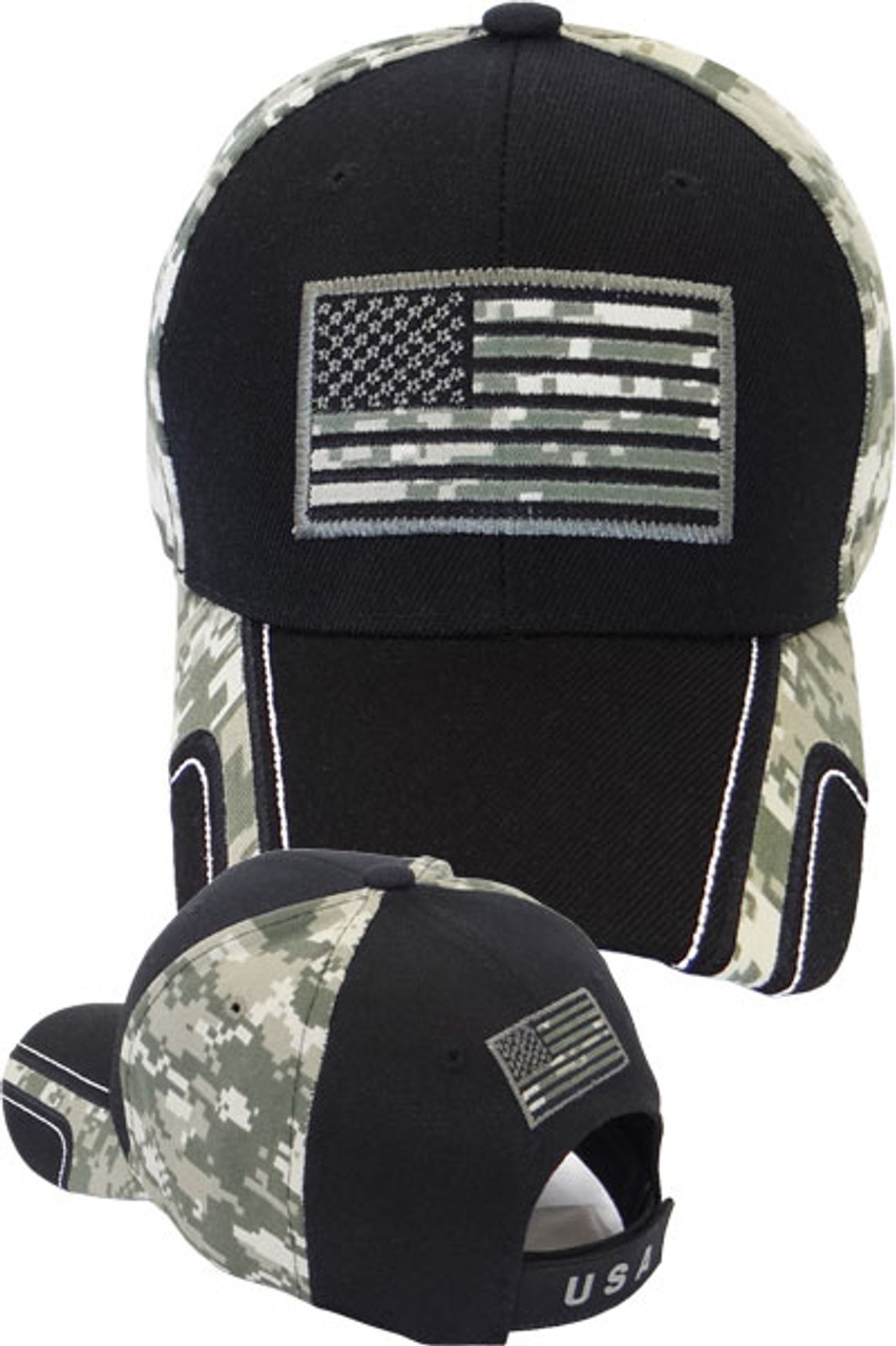 bc63178f053 USA Flag Cap Front and Back - Black Digital ACU Camo - U.S. Military Hats .com