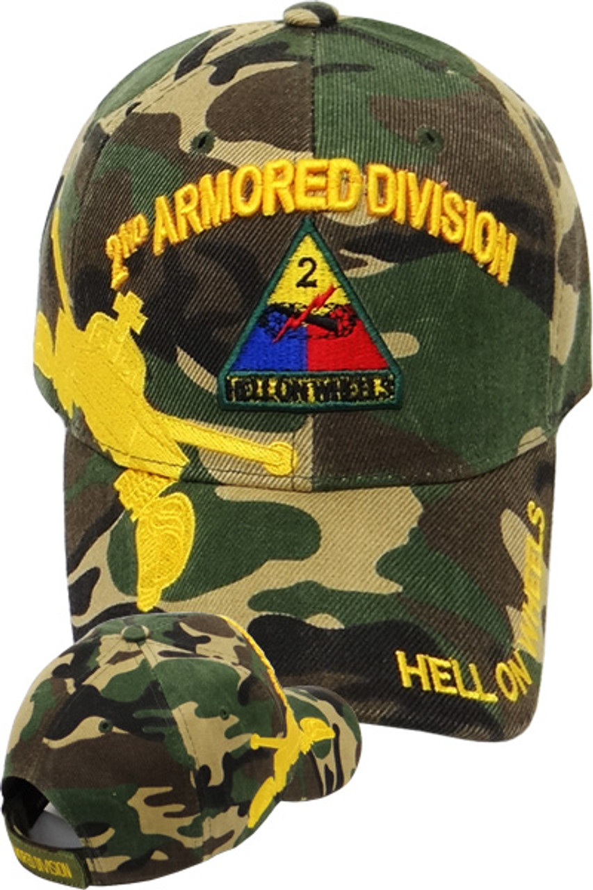 f183d6438 2nd Armored Division Caps Hell on Wheels Woodland Camo - U.S. Military Hats