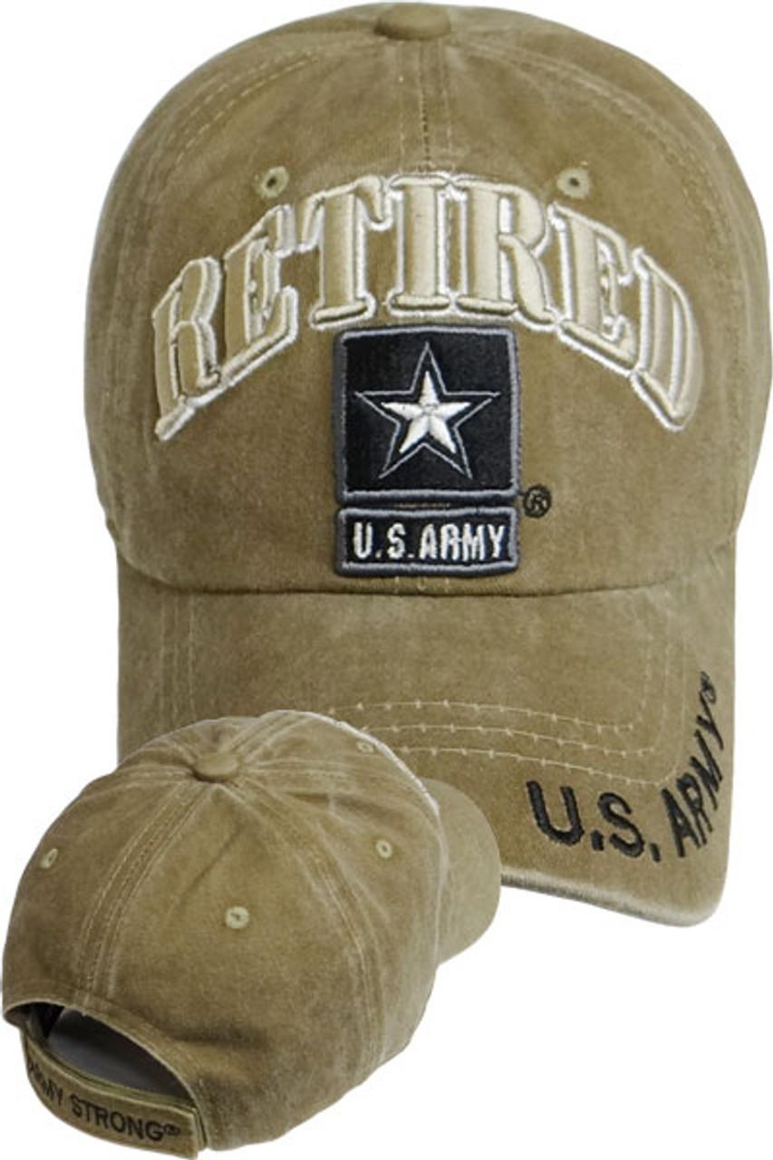 5c564647db51b3 U.S. Army Retired Cap Army Star - Washed Cotton - Khaki - USMILITARYHATS.COM