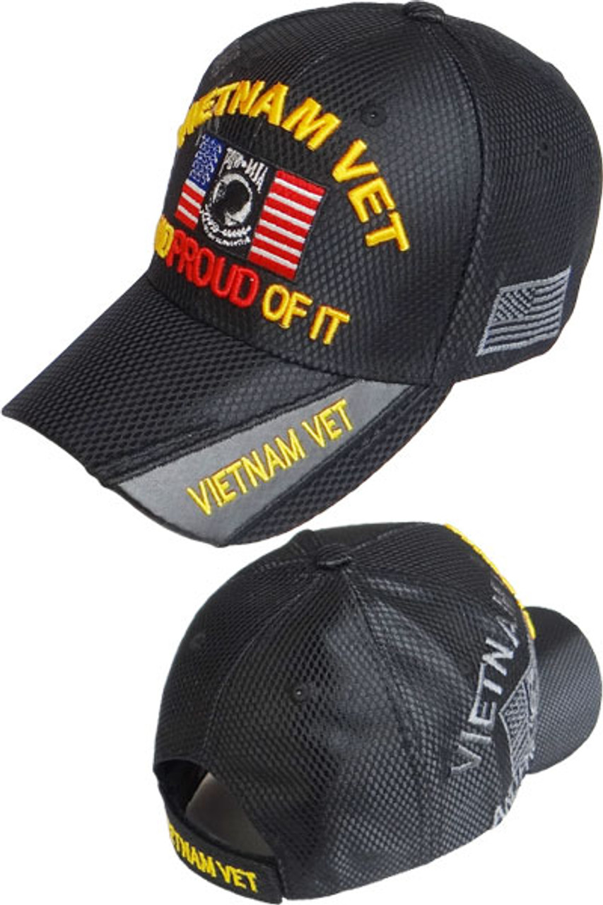 46cd5f9fa8b Vietnam Veteran POW-MIA Shadow Caps Shiny Mesh Black
