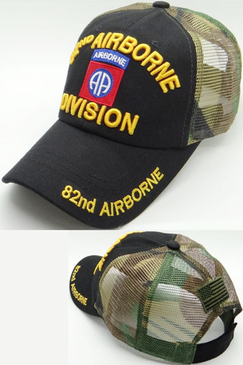 a1e1e269293 U.S. Army 82nd Airborne Division Cap Cotton -Trucker Air Mesh - Black Woodland  Camo - USMILITARYHATS.COM