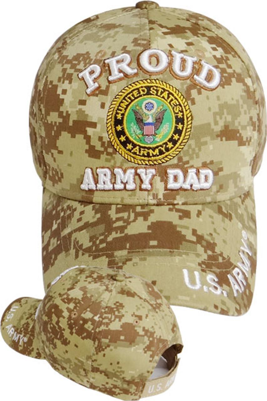 fc14a0ef137 U.S. Army Proud Army Dad Cap - Desert Digital Camo - USMILITARYHATS.COM