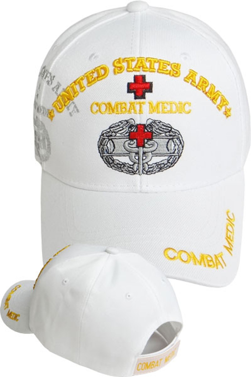 U S  Army Combat Medic Shadow Cap - White