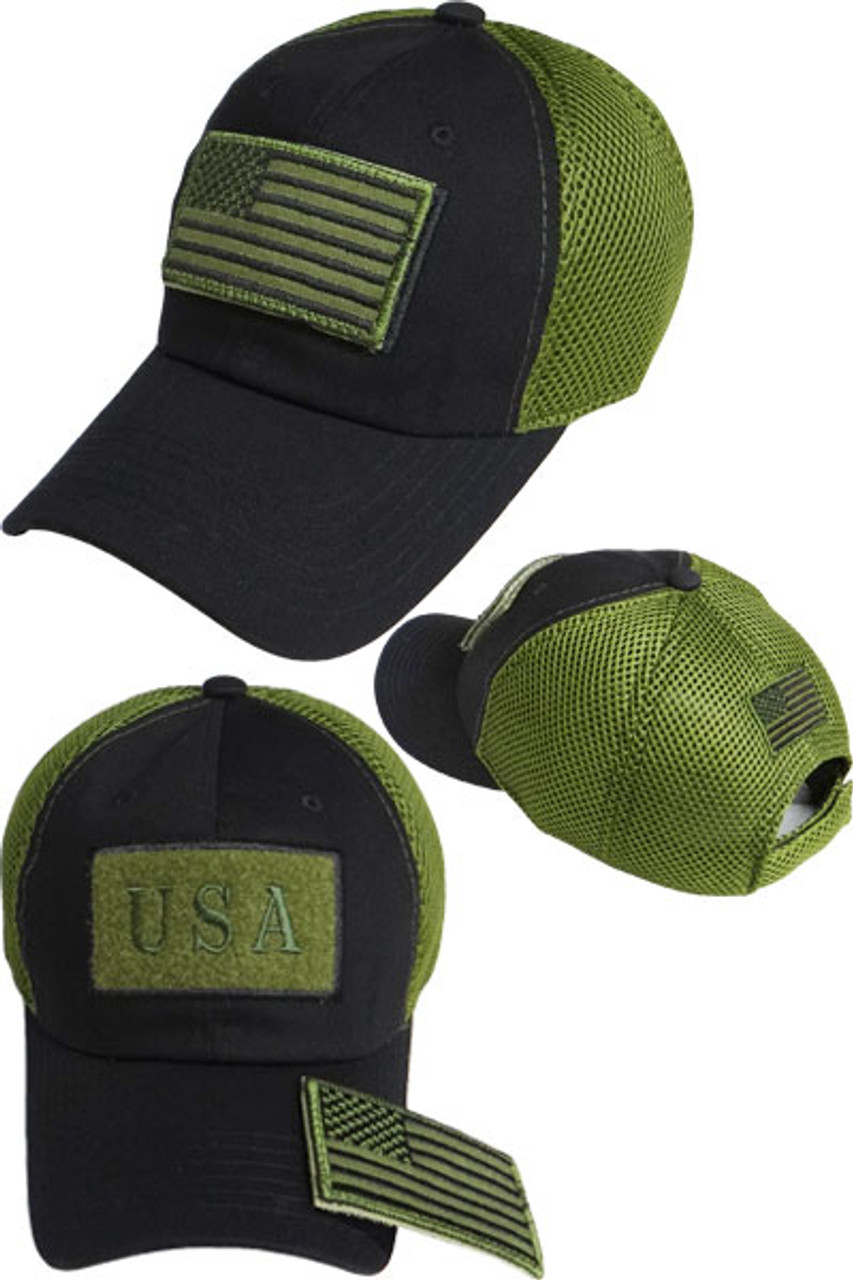USA Flag Patch Cap - Soft Jersey Air Mesh - Black/Olive