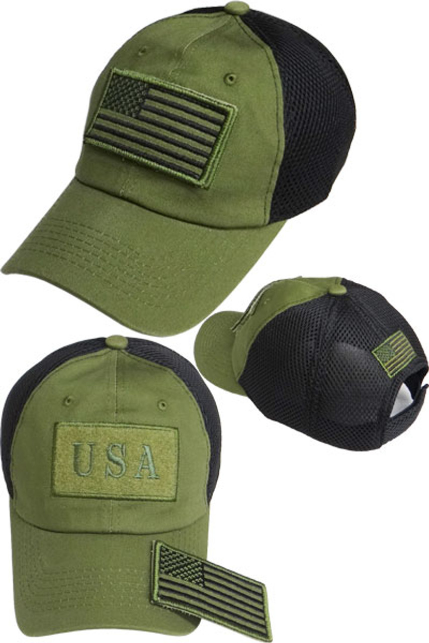 USA Flag Patch Cap - Soft Jersey Air Mesh - Olive Black - USMILITARYHATS.COM cfb38e1ae8f