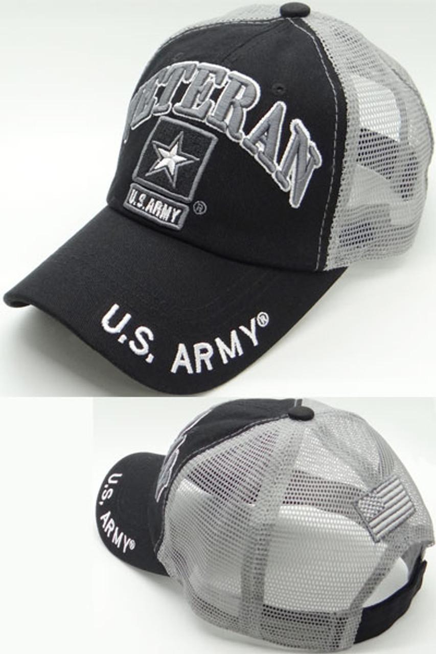 U S  Army Veteran Cap - USA Flag Subdued - Cotton/Air Mesh - Black/Grey