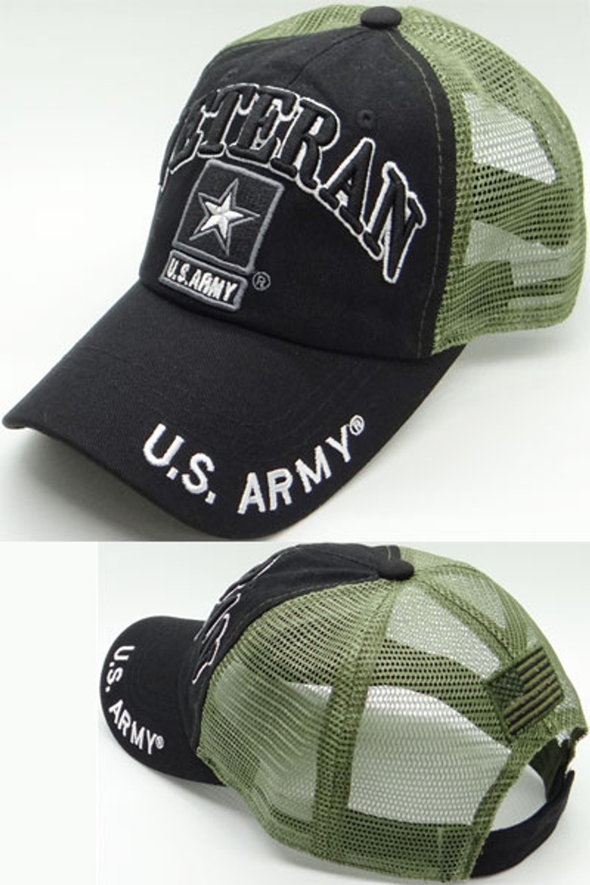 U S  Army Veteran Cap - USA Flag Subdued - Cotton/Air Mesh - Black/Olive