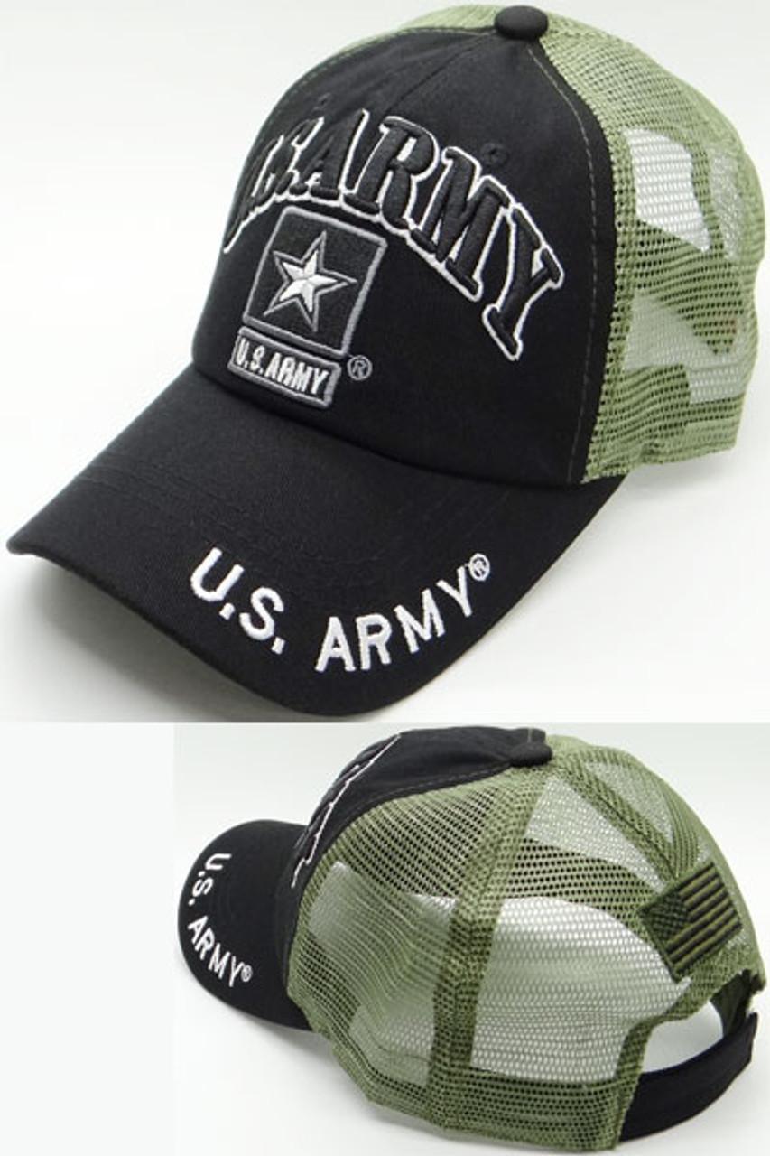 85ffb6c33e7 U.S. Army Cap - Army Star Logo - USA Flag Subdued - Cotton Air Mesh - Black  Olive - USMILITARYHATS.COM