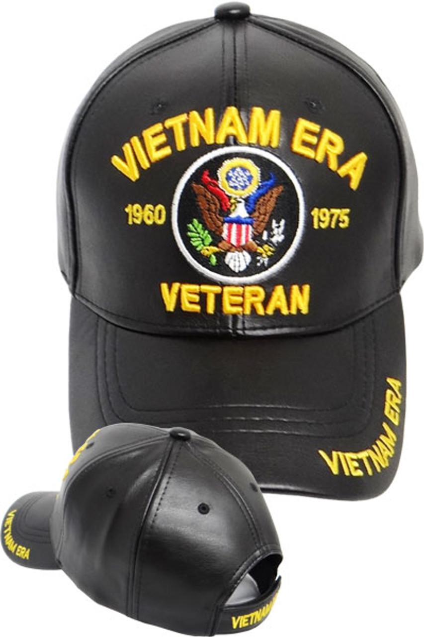 f6225bfaee79c3 Vietnam Era Veteran Cap - Faux Leather Black - USMILITARYHATS.COM