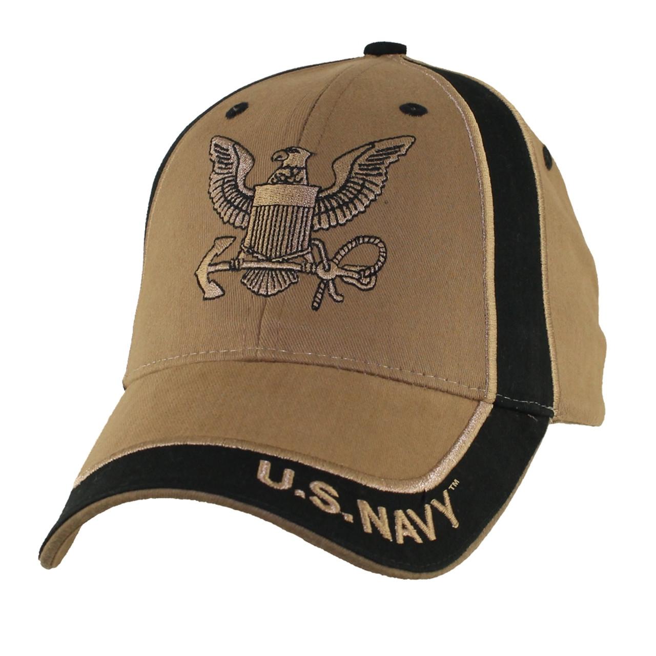 6664 - U S  Navy Cap - Cotton - Coyote/Black