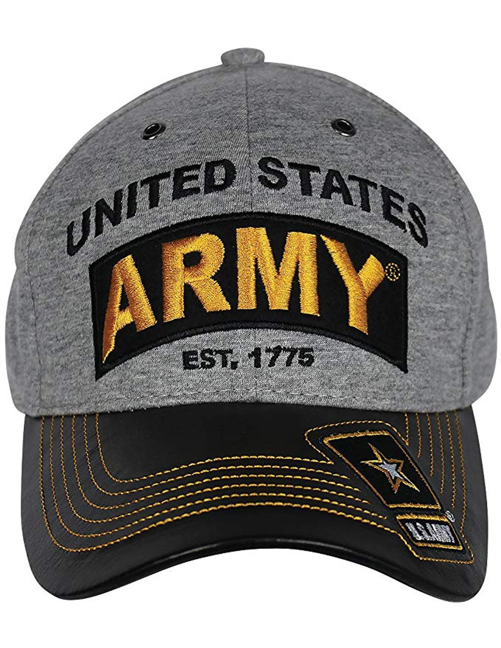 13aec3afe7144e U.S. Army Cap - Jersey Knit Cotton/Faux Leather Bill - Grey/Black -  USMILITARYHATS.COM