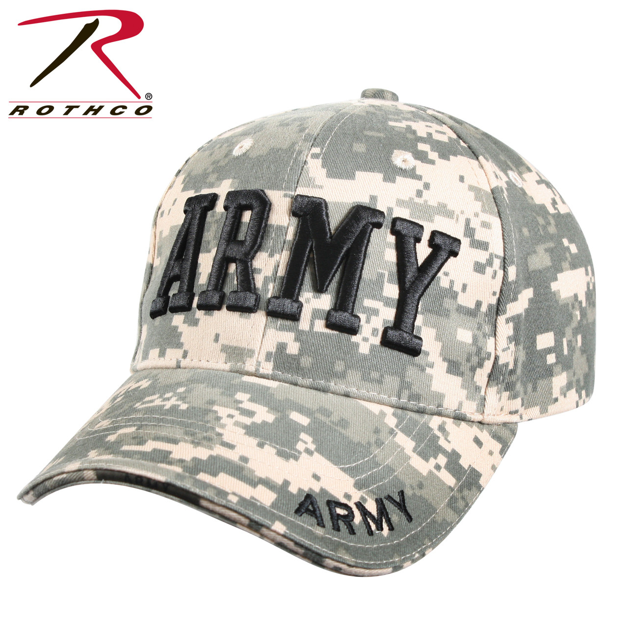 a85b527720cb5 Rothco Deluxe Army Cap Embroidered Insignia Low Profile (Item #9488) -ACU  Digital Camo
