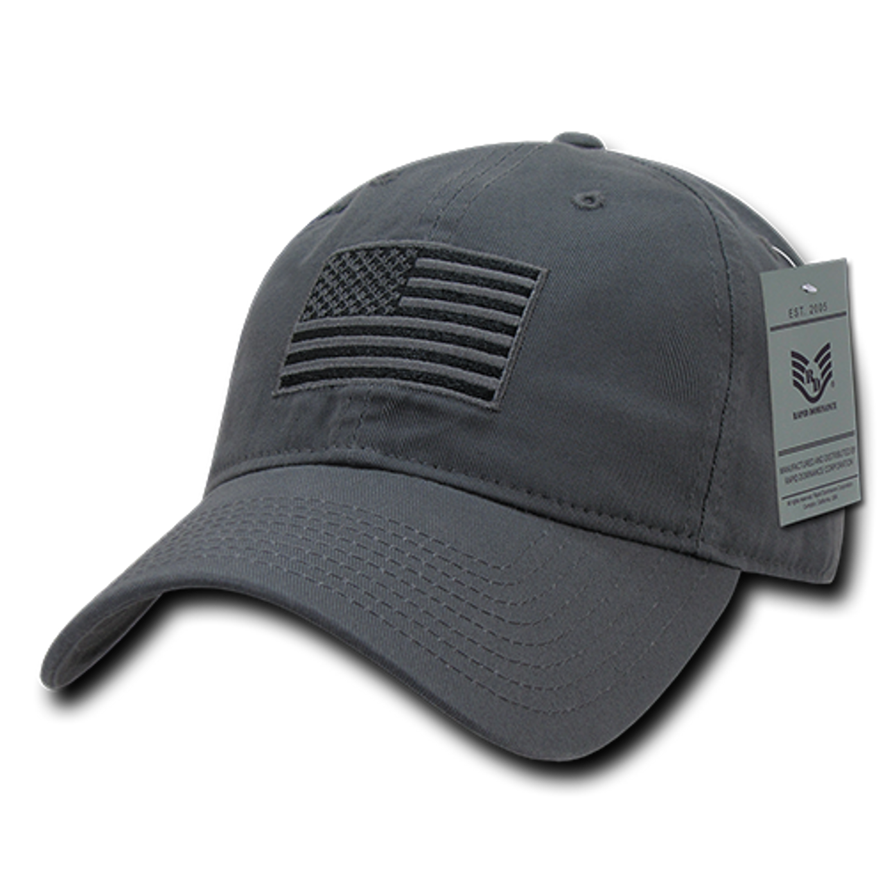 300a3900857 Tactical Cap Relaxed US Flag Dark Grey - US Military Hats