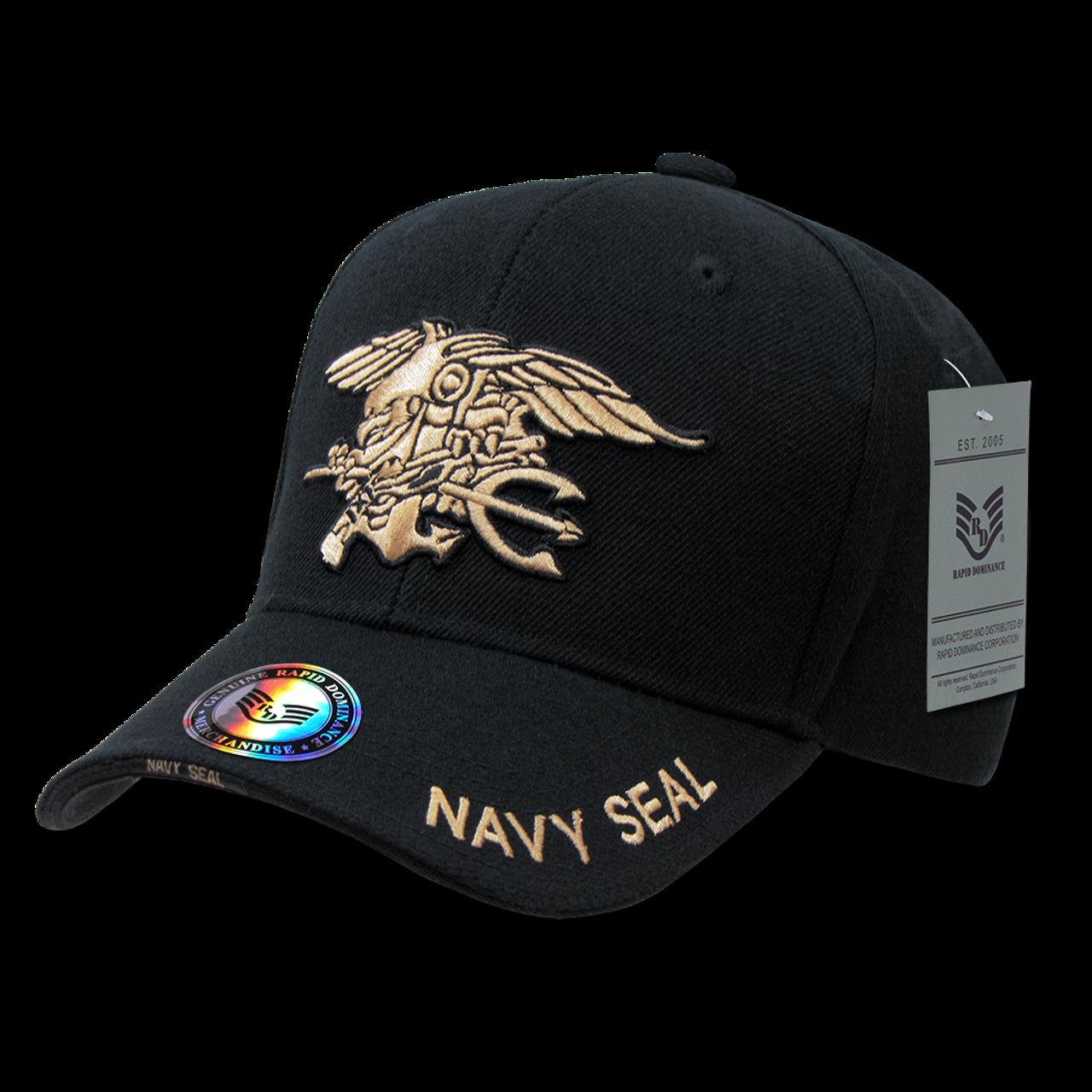 S001 - Navy SEAL Cap - Trident Eagle Anchor - Black