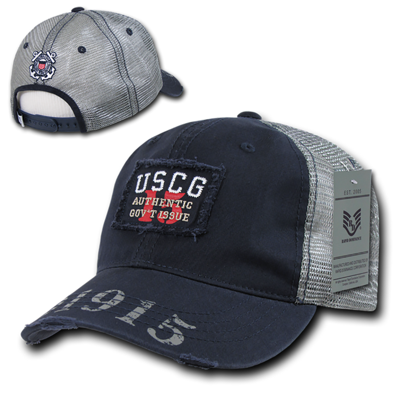 2284816bef8 S85 - Coast Guard Cap USCG Vintage Military Patch Mesh Blue -  USMILITARYHATS.COM