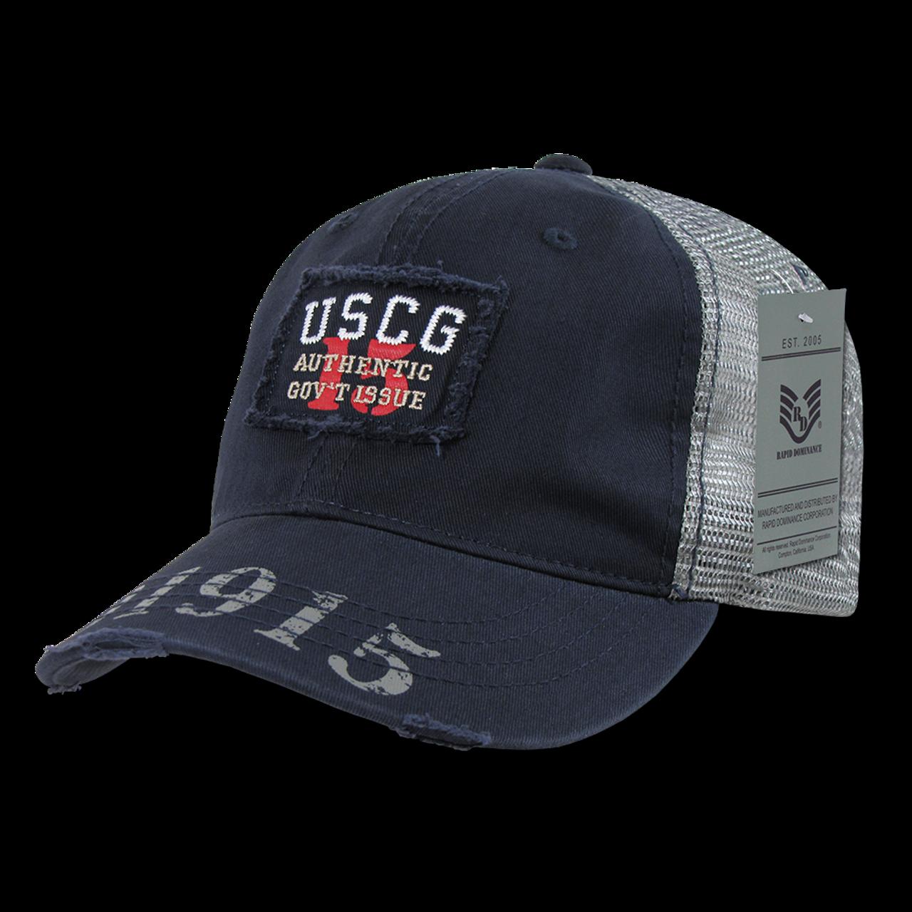 S85 - Coast Guard Cap USCG Vintage Military Patch Mesh Blue -  USMILITARYHATS.COM fd3b24db06ba