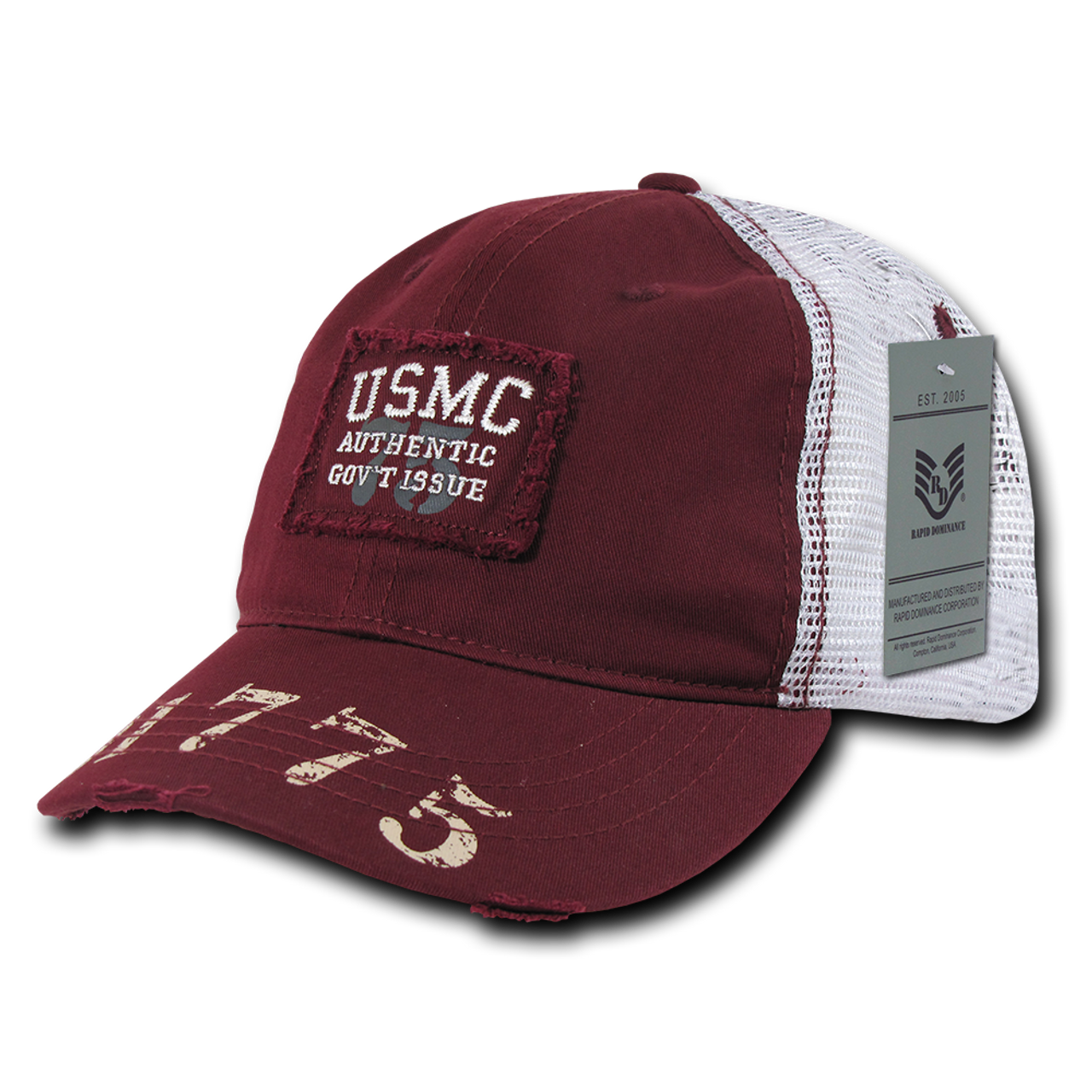 S85 - Marines Cap USMC Vintage Military Patch Mesh Maroon