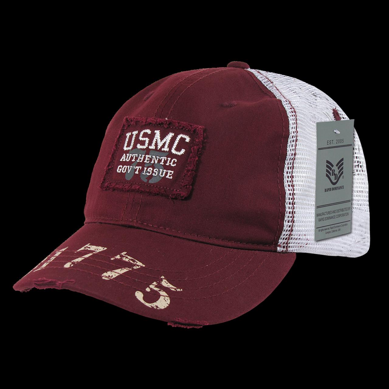 904cefe5007 S85 - Marines Cap USMC Vintage Military Patch Mesh Maroon -  USMILITARYHATS.COM