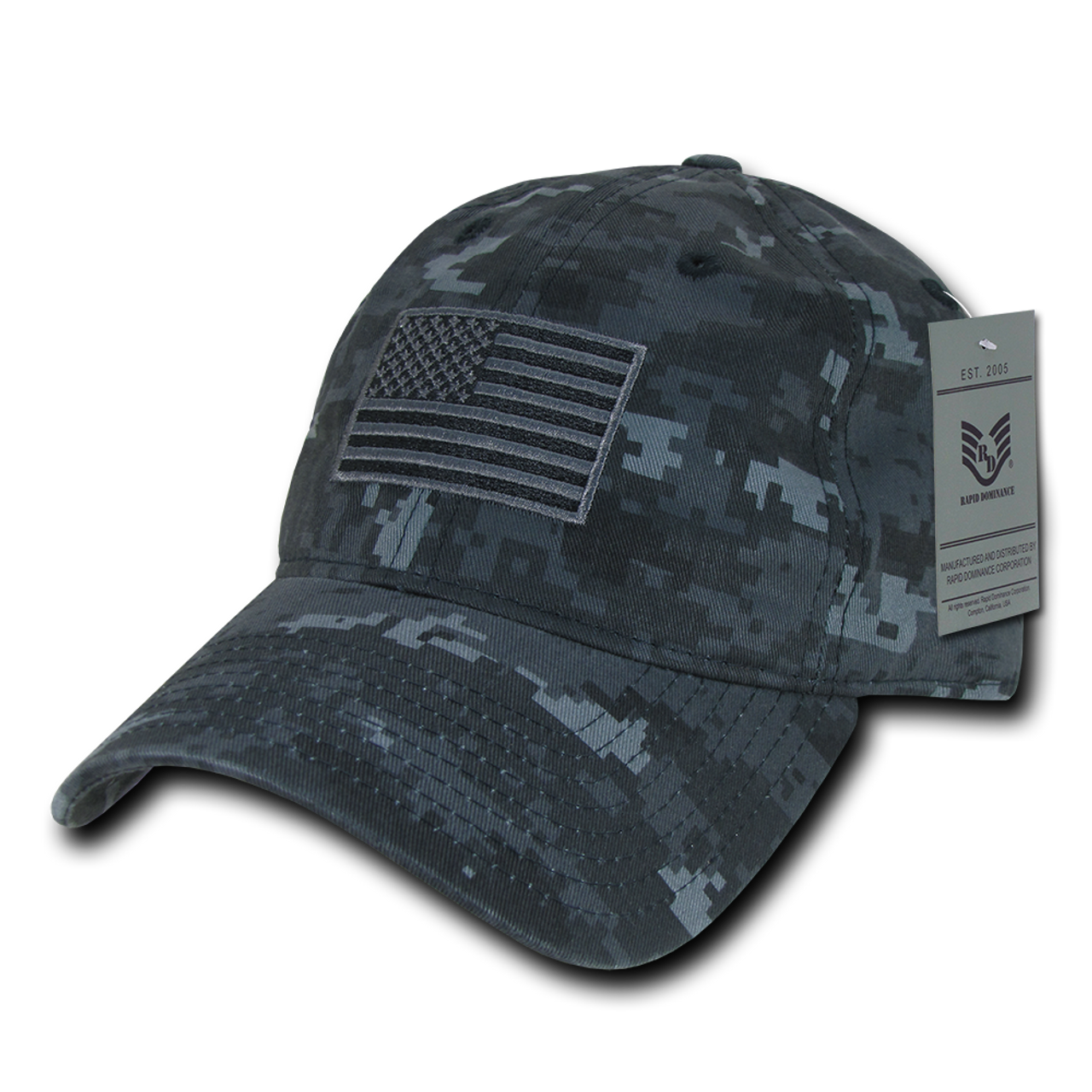 84dbcec70145e9 A03 - Tactical Operator Cap Tonal US Flag Navy Blue Digital Camouflage  Relaxed ...
