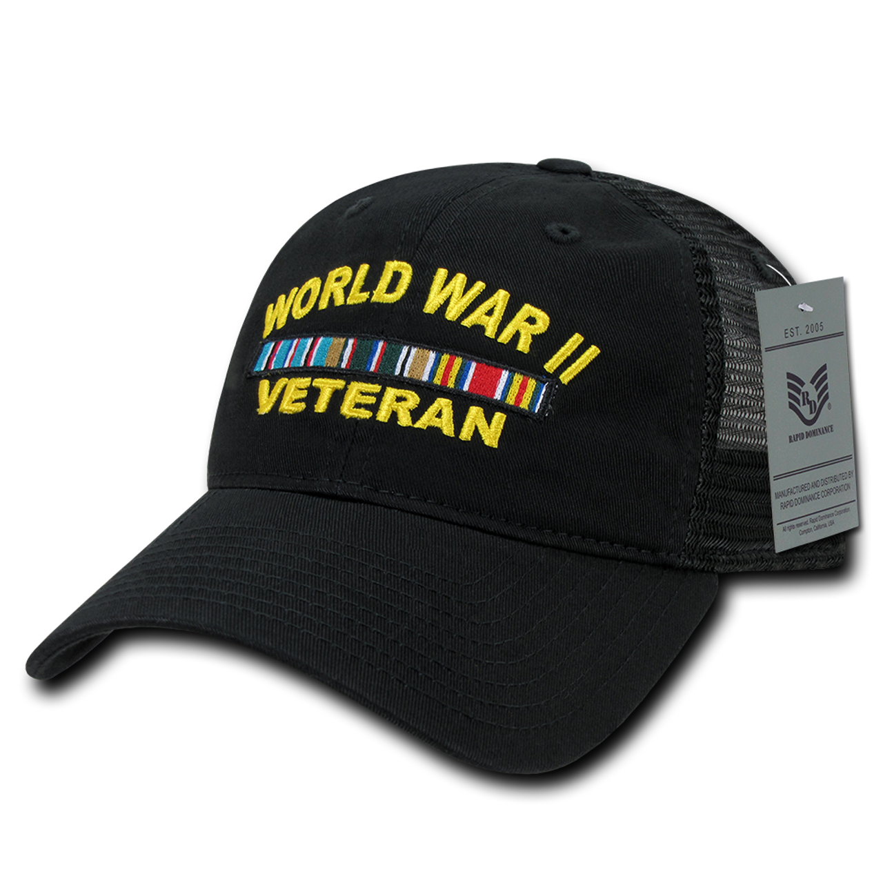3ae3ab3b780ad S79 - World War II Veteran Cap - Relaxed Trucker - Black -  USMILITARYHATS.COM