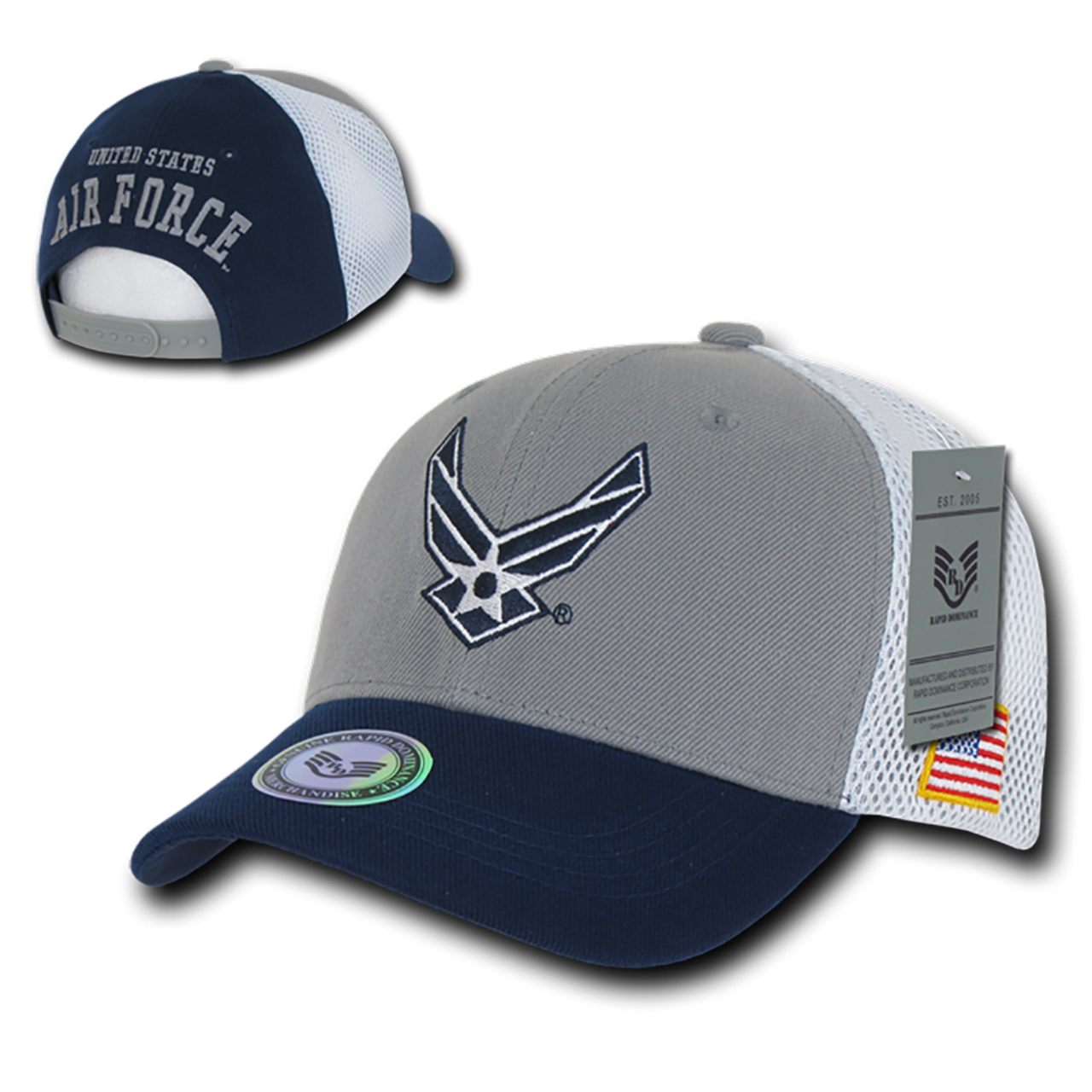 6cf68289 S010 - Military Hat - US Air Force Wings Cap - Air Mesh Cotton - Blue/Gray  - USMILITARYHATS.COM