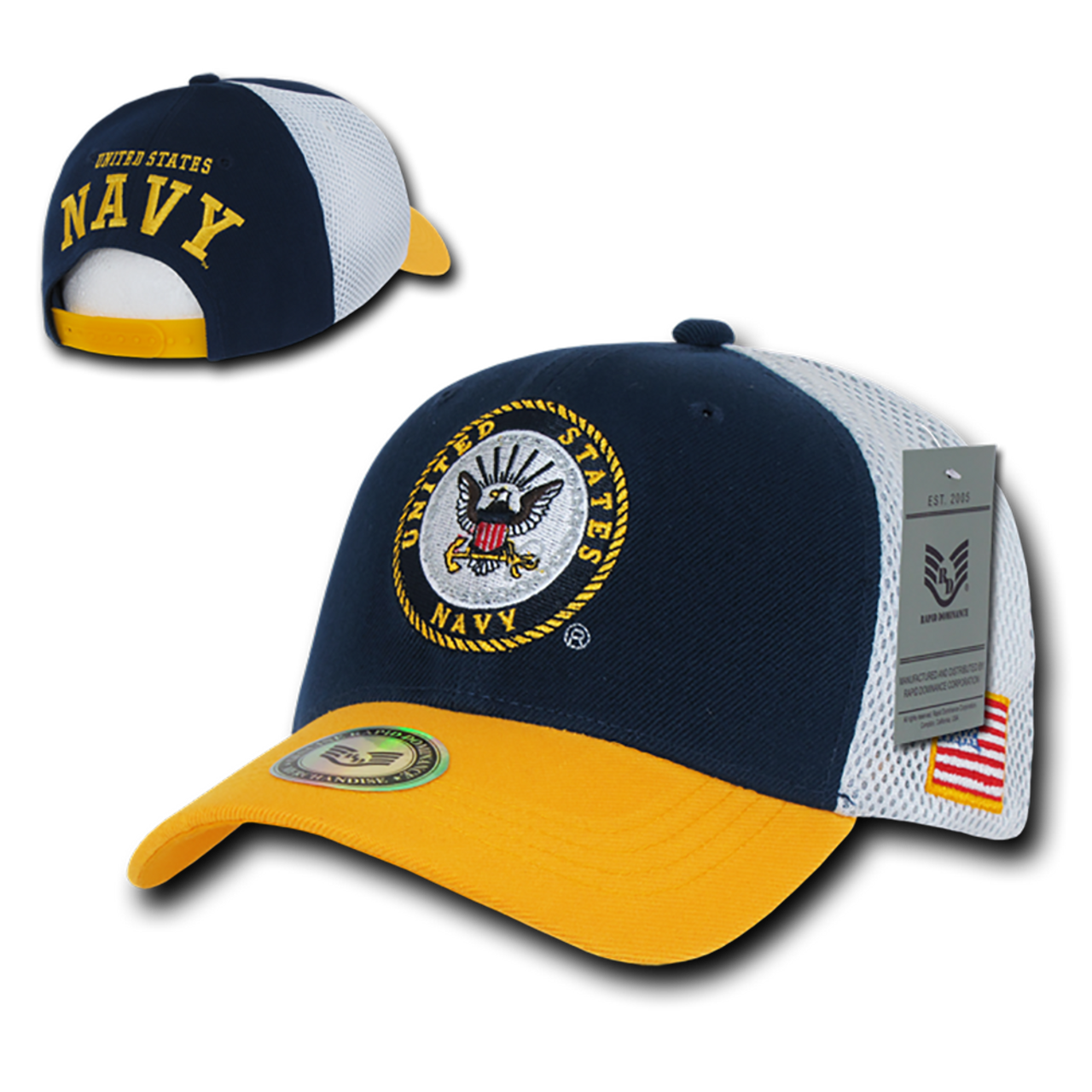 S010 - Military Hat - US Navy Cap - Cotton Mesh - Navy/Gold