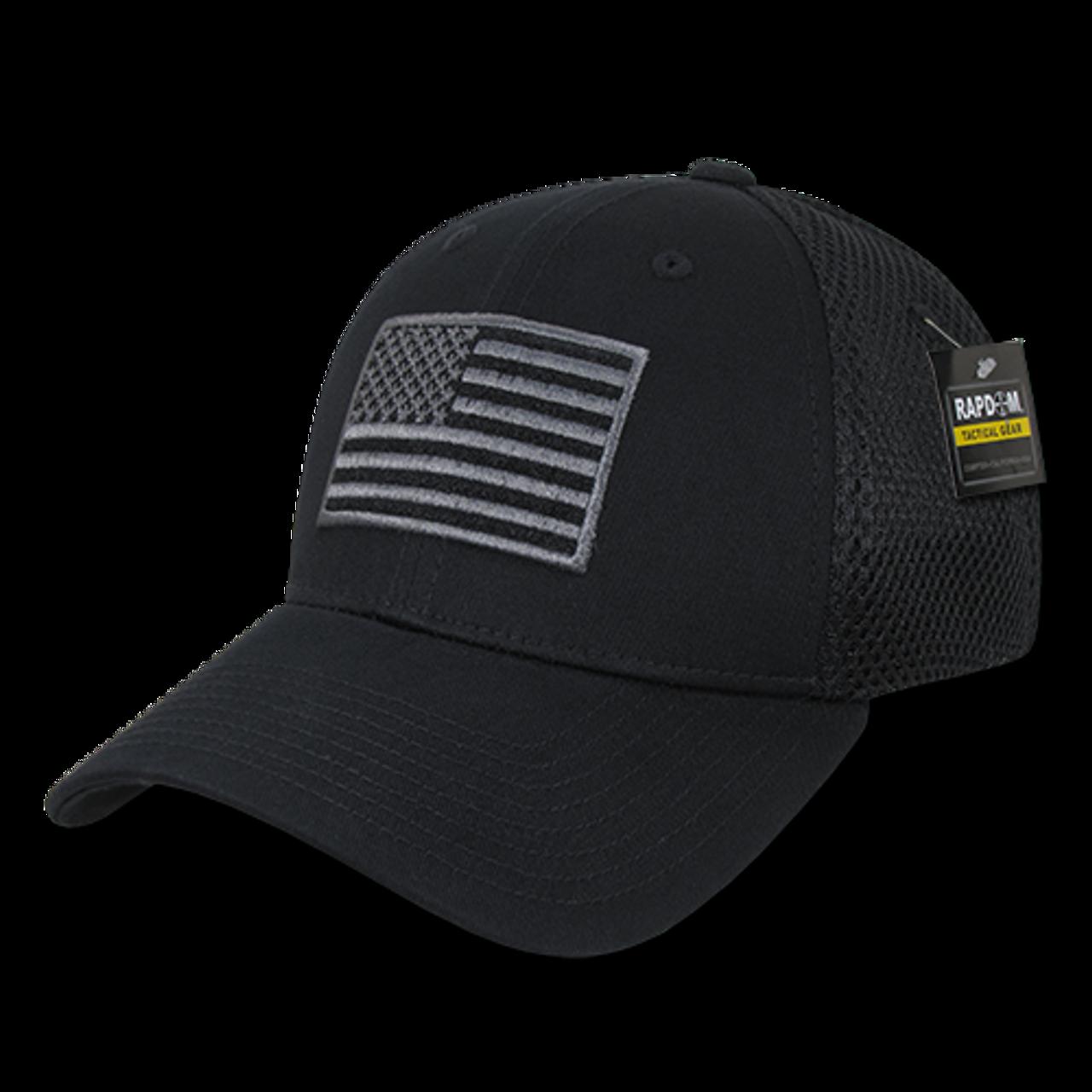 T88 - Tactical Cap USA Flag - Low Crown Structured Air Mesh Flex - Black -  USMILITARYHATS.COM 9af496ffb4d
