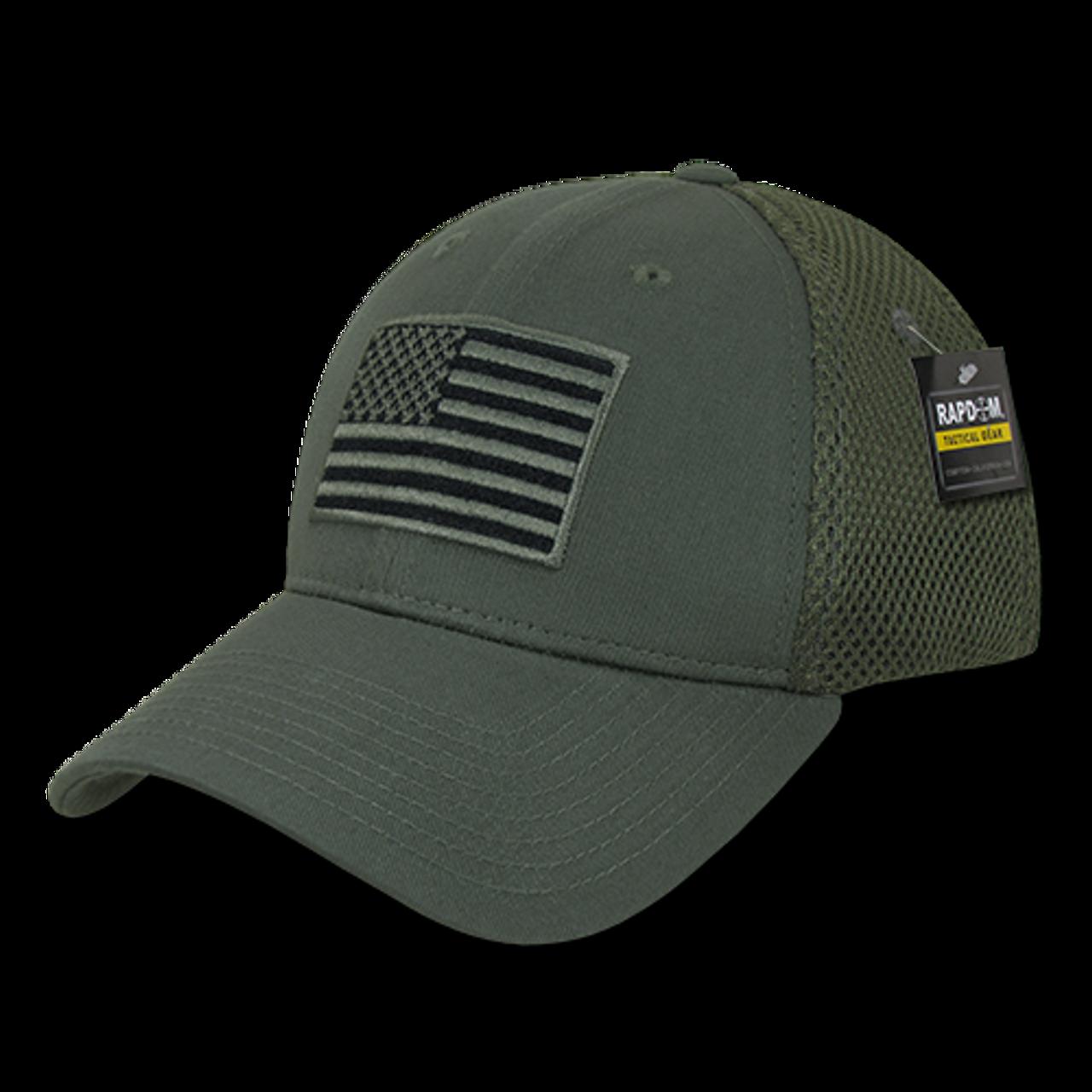 97bda5246 T88 - Tactical Cap USA Flag - Low Crown Structured Air Mesh Flex - Olive  Drab