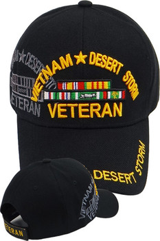19e89745891849 Vietnam Desert Storm Shadow Veteran Cap with Ribbons - Black