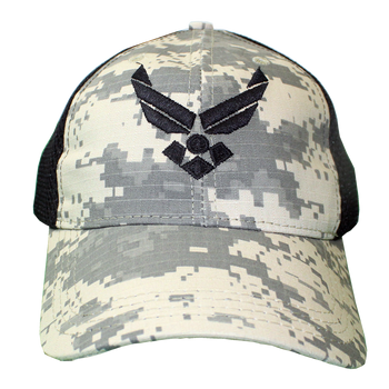 f0614054674 26047 - U.S. Air Force Cap - Made in USA - Digital Camo Black Mesh