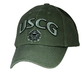 bfc102fb 6477 - U.S. Coast Guard 3-D Text Logo Cap Cotton - Olive Drab
