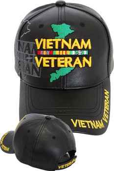 13e5f9f45541b Vietnam Veteran Ribbons Shadow Cap with Map - Faux Leather - Black