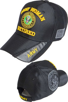 0df1d1ecc4bdc8 U.S. Army Woman Retired Cap Emblem Shadow - Shiny Air Mesh - Black