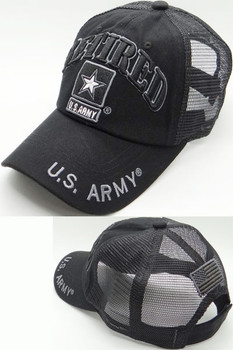 d7092bad355d7c U.S. Army Retired Cap - USA Flag Subdued - Cotton/Air Mesh - Black