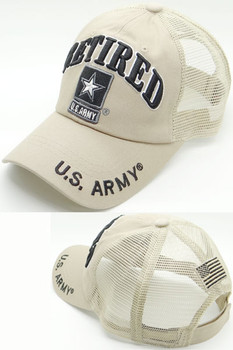 ba9005ed2a91e3 U.S. Army Retired Cap - USA Flag Subdued - Cotton/Air Mesh - Khaki