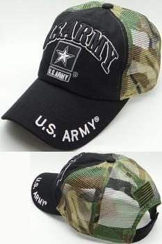 293e464a U.S. Army Cap - Army Star Logo - USA Flag Subdued - Cotton/Air Mesh - Black/Woodland  Camo