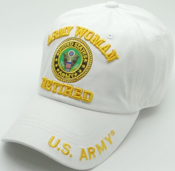 85f3aa4f659f49 U.S. Army Cap - Woman Retired - 100% Cotton - White