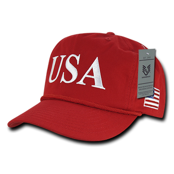 1122ab953c6 A09 - USA Flag 45 Patriotic Golf Cap Cotton - High Crown Snap Back - Red