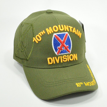 Army 10th Mountain Division Black Embroidered Shadow Cap Hat Licensed TM U.S