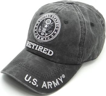 Details about  /U.S Army Retired Hat Black Flat Brim Snapback High Profile 100/% Cotton