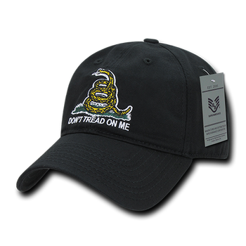 671039281 A02 - Don't Tread On Me Gadsden Cap - Black - USMILITARYHATS.COM