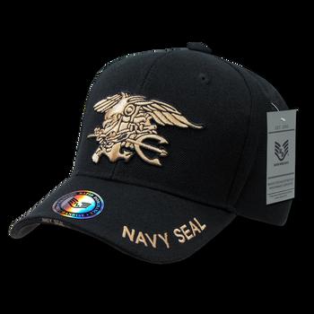 d0b55f0244f7e S001 - Navy SEAL Cap - Trident Eagle Anchor - Black
