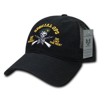 S79 - Military Hat - Special Ops Cap - Relaxed Trucker Mesh - Black fd6161e791f0