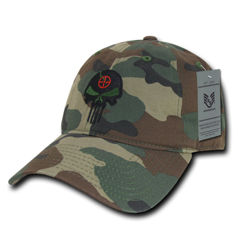 bf67a1eef54 A03 - Punisher Skull Tactical Cap - Relaxed Cotton - Woodland Camouflage
