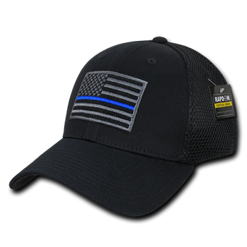 400b4973775 T88 - Police Cap Thin Blue Line - Low Crown Structured Air Mesh Flex - Black