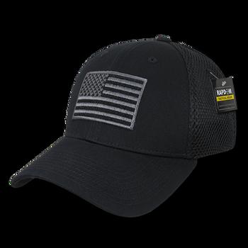T88 - Tactical Cap USA Flag - Low Crown Structured Air Mesh Flex - Black d5fcafbb55a
