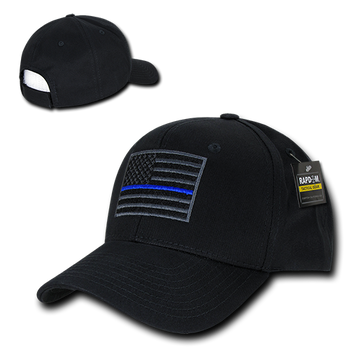 0a86112886f T76 - Police Cap Thin Blue Line USA Flag - Structured Cotton - Black