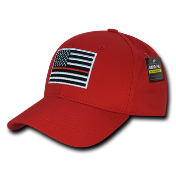T76 - Firefighter Cap Thin Red Line USA Flag - Structured Cotton - Red 5200dbdd79ce