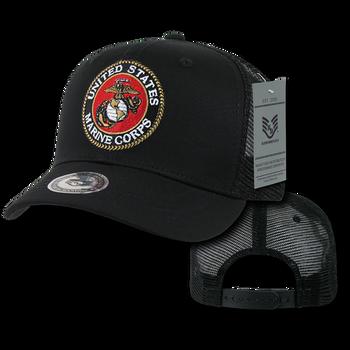 f190f0cc757 S77 - U.S. Marine Corps Cap - Back to Basics - Trucker Mesh - Black