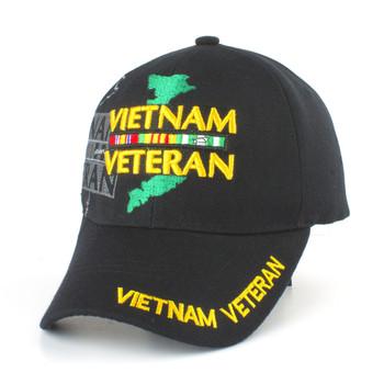 d654cd9fff68c Vietnam Veteran Shadow Cap - Vietnam Map - Service Ribbons - Black